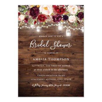 rustic burgundy floral lights bridal shower invitation