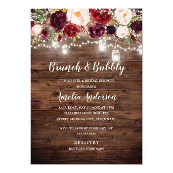 rustic burgundy floral lights brunch and bubbly invitation