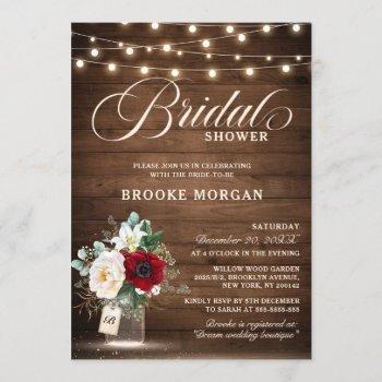 rustic burgundy floral mason jar bridal shower invitation