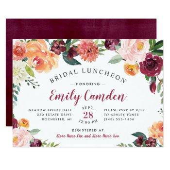 rustic burgundy floral wedding bridal luncheon invitation
