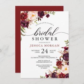 rustic burgundy marsala bridal shower invitation