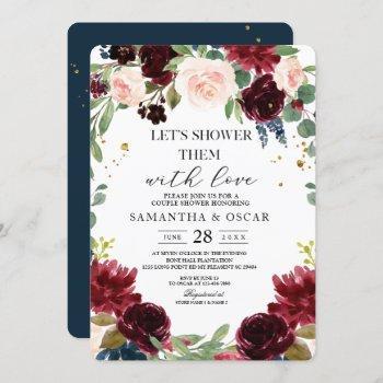 rustic burgundy navy blue & red flowers frame invitation