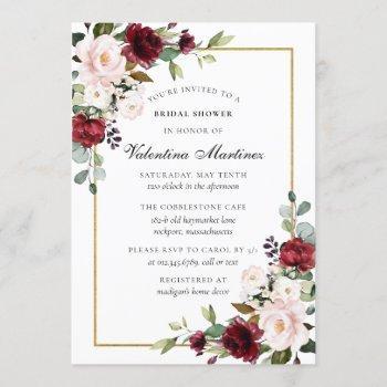 rustic burgundy red pink rose floral bridal shower invitation
