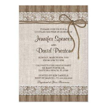 rustic burlap and lace couples shower invitation
