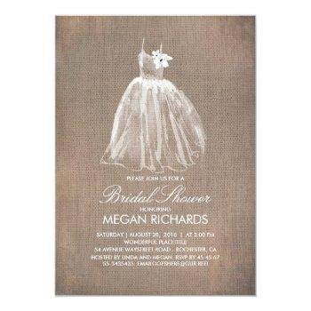rustic burlap and wedding gown bridal shower invitation