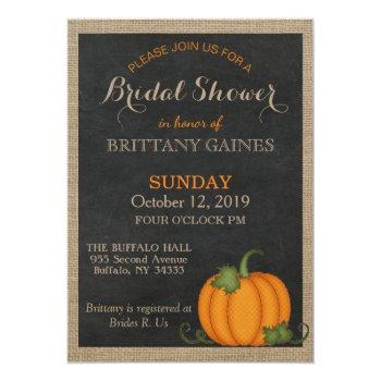 rustic burlap chalkboard orange pumpkin shower invitation