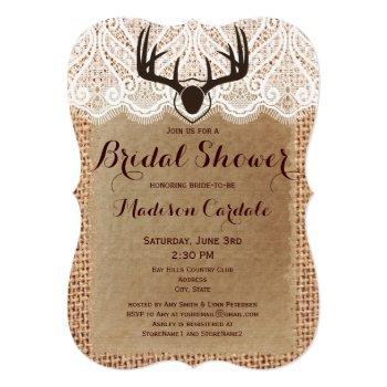 rustic burlap deer antlers bridal shower invites