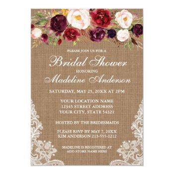 rustic burlap lace burgundy floral bridal shower invitation