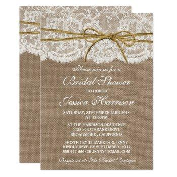 rustic burlap, lace & twine bow bridal shower invitation