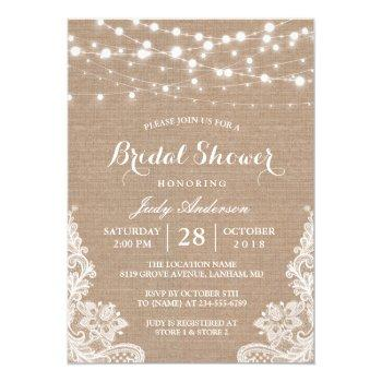 rustic burlap string lights lace bridal shower invitation