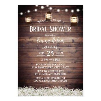 rustic camping lantern string lights bridal shower invitation