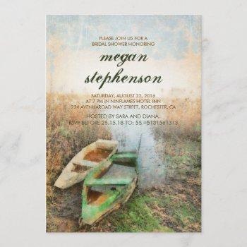 rustic canoe waterfront bridal shower invitation