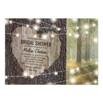 rustic carved heart tree bridal shower invitation
