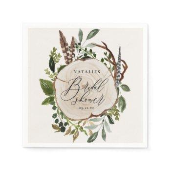 rustic chalk + wood slice bridal shower party napkins