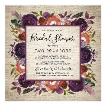 rustic chateau butterum & plum flora bridal shower invitation