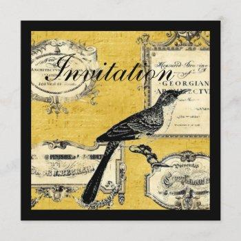 rustic chic country cottage french bird invitation