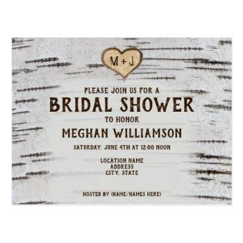 rustic country birch heart initial bridal shower postcard