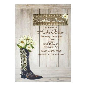 rustic country boot with daisies bridal shower invitation