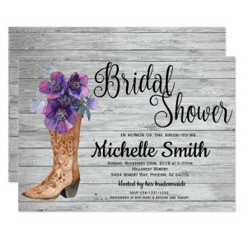 rustic country bridal purple vintage bridal shower invitation