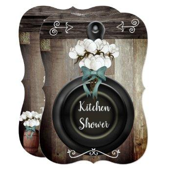 rustic country cotton boll skillet kitchen shower invitation