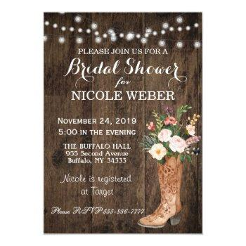 rustic country cowboy boot bridal shower invite