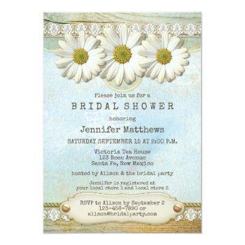 rustic country daisy bridal shower invitation
