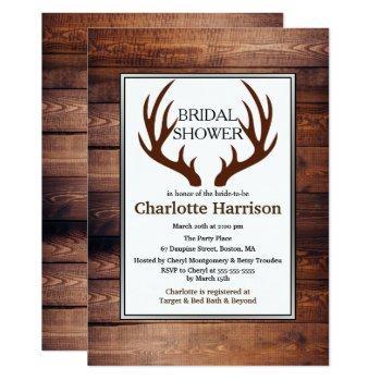 rustic country deer antlers bridal shower invitation