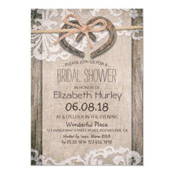 rustic country horseshoe burlap lace bridal shower invitation