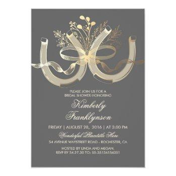 rustic country horseshoes gold grey bridal shower invitation