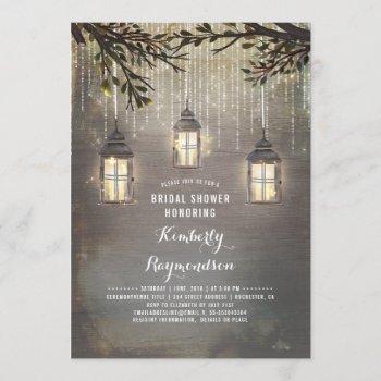 rustic country lanterns garden bridal shower invitation