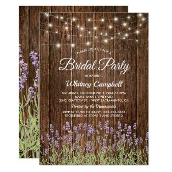 rustic country lavender lights bridal shower invitation