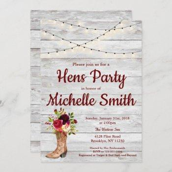 rustic country western boot vintage hens party invitation
