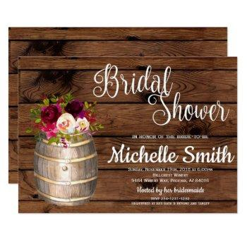 rustic country wine barrel burgundy bridal shower invitation