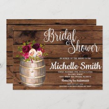 rustic country wine barrel burgundy bridal shower invitation