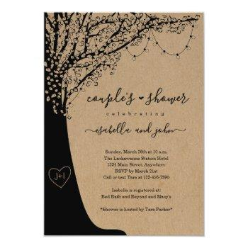 rustic couple's wedding shower invitation