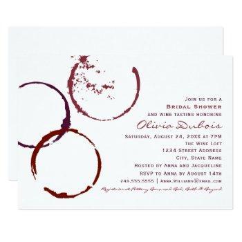 rustic dark red wine stain wedding bridal shower invitation