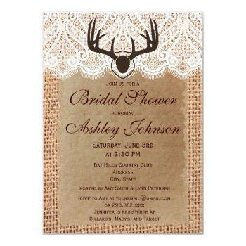rustic deer antlers bridal shower invitations