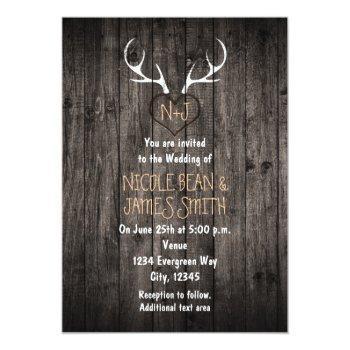 rustic deer antlers & carved heart wedding invitation