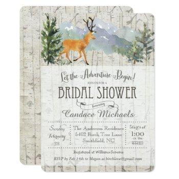 rustic deer birch bridal shower invitation