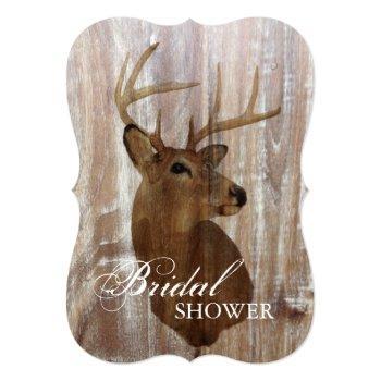 rustic deer the hunt is over bridal shower invitation