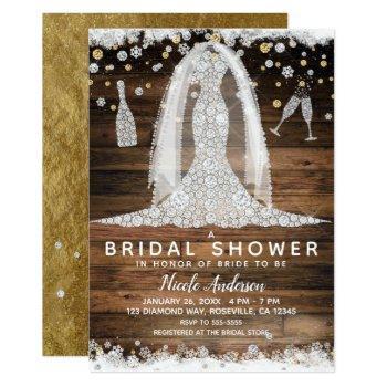 rustic diamond wedding dress gold bridal shower invitation