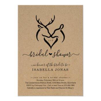 rustic doe & deer antlers heart bridal shower invitation