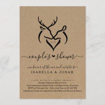 rustic doe & deer antlers heart couple's shower invitation