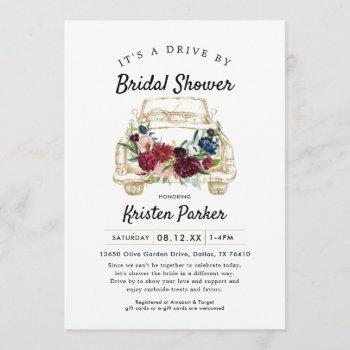 rustic drive by bridal shower invitation