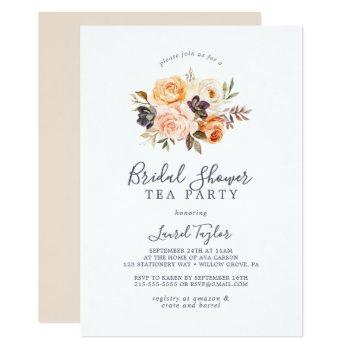 rustic earth florals bridal shower tea party invitation