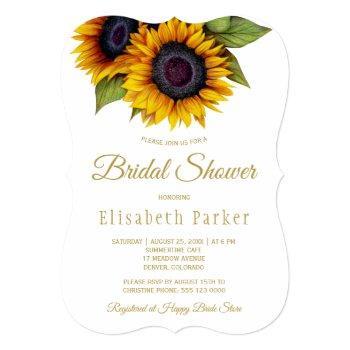 rustic elegant gold sunflowers bridal shower invitation