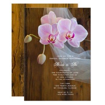 rustic elegant orchids country barn bridal shower invitation