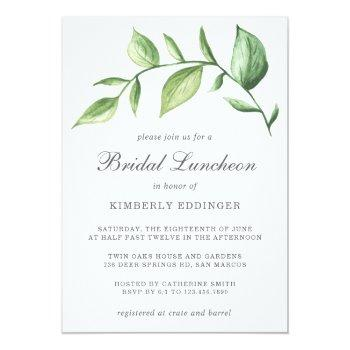 rustic elegant watercolor greenery bridal luncheon invitation