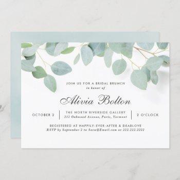 rustic eucalyptus bridal brunch invitation