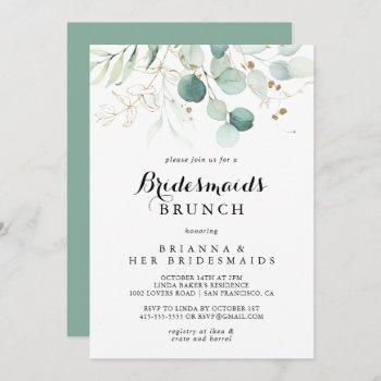 rustic eucalyptus gold bridesmaids brunch shower invitation